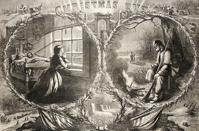 Thomas Nast Civil War illustration of a couple separated by the Civil War