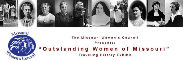 Banner for Women of Missouri exhibition featuring photos of prominent women and the logo of Missouri Women's Council