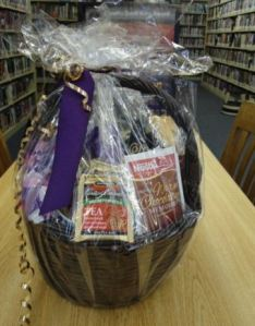 Image of a gift basket containing coffees, teas & mugs