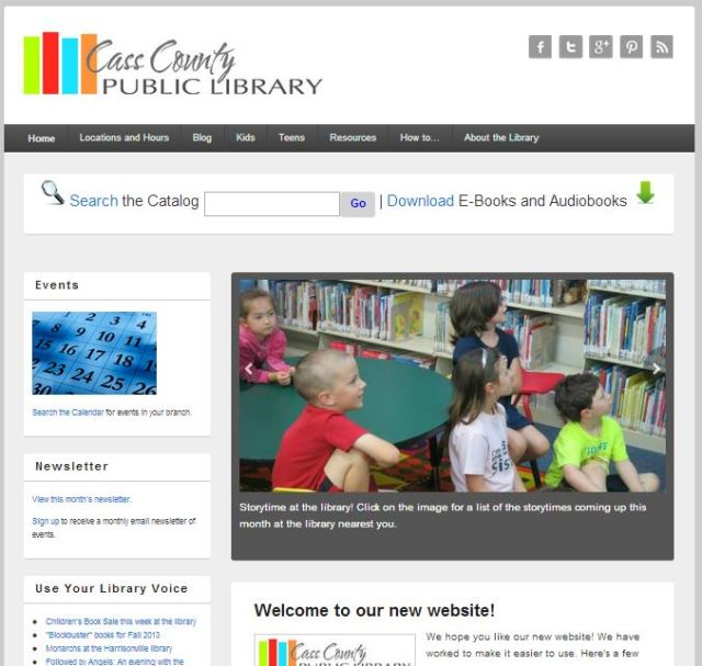 A look at the home page of the site of casscolibrary.org.