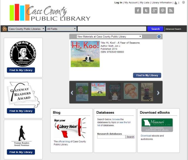 Image of the main search page of the online catalog