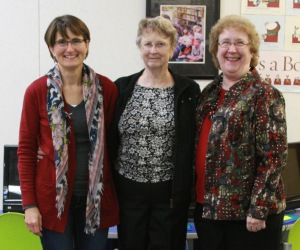Retiring Pleasant Hill Branch manager, Marianna Decker (right), with Pleasant Hill library staff members, Pam Gough (left) and Arva Umland (center).