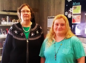New Drexel branch manager, Ellen Connor (left) with library assistant, AmberBodenhamer