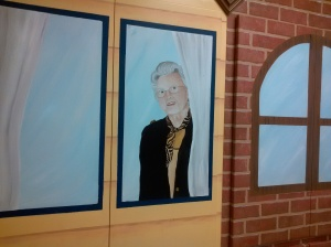 Wanda Brown's likeness in the children's area of the Harrisonville library.